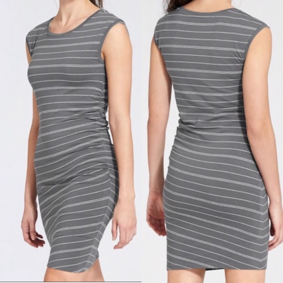 Athleta Dresses & Skirts - Athleta Gray Striped Carefree Stretch Ruched Dress